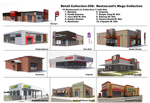 exterior restaurant panera architectural 3D model