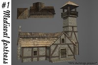 3D medieval fortress buildings model