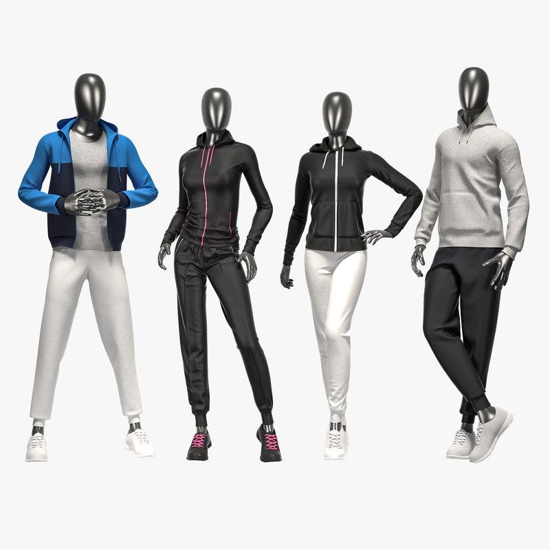 3D model set sport suits