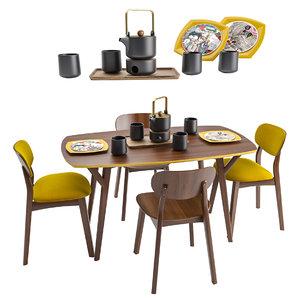 3D model dining set proso
