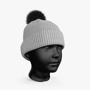 3D winter hat gray