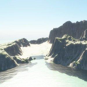 mountain island terrain 3D model