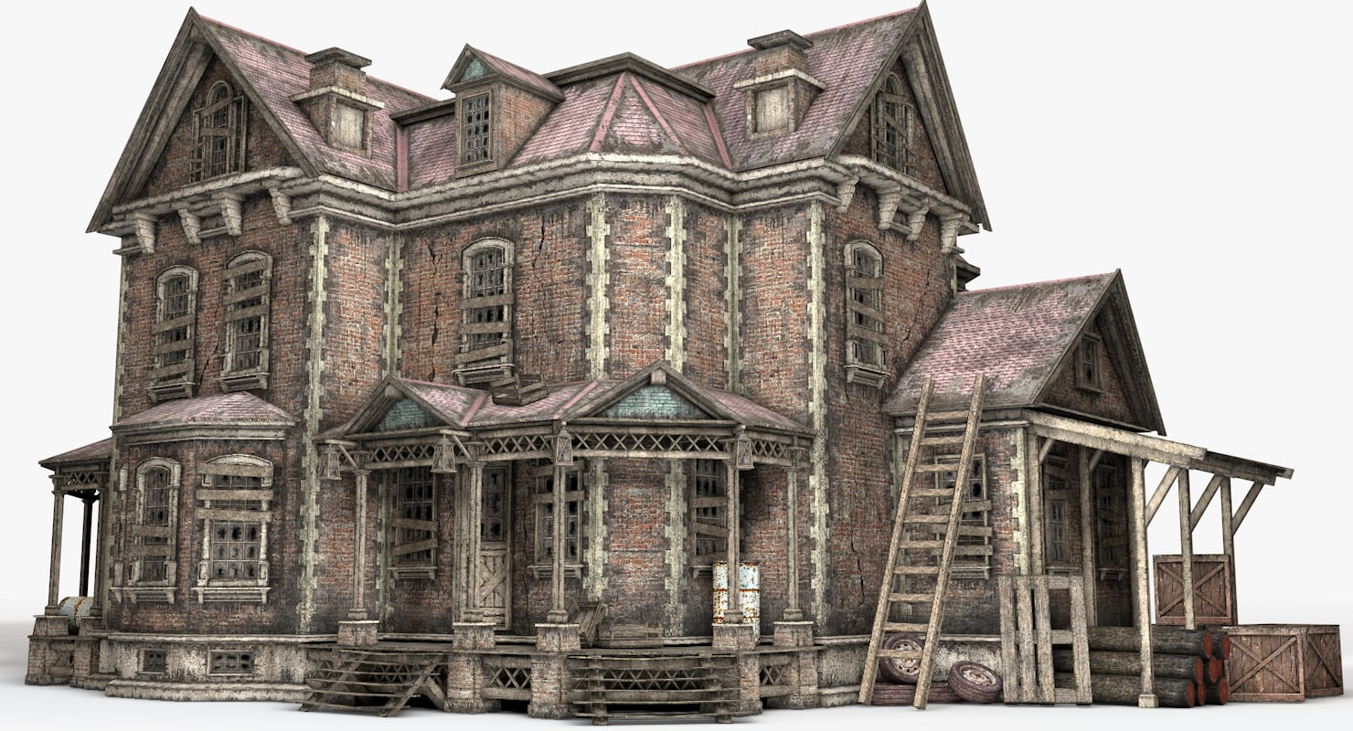 old abandoned house interior 3D
