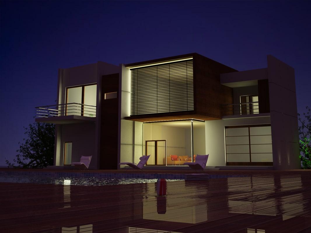 night luxury house 3D model