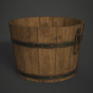 wooden bucket 3D