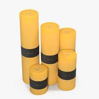 beeswax candles 01 3D