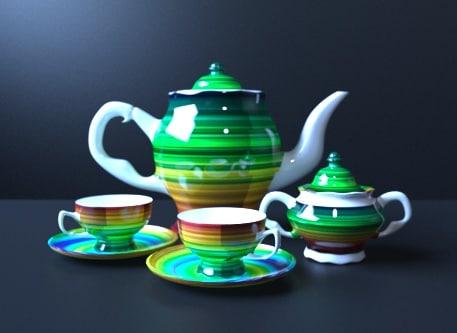 3D tea set gold