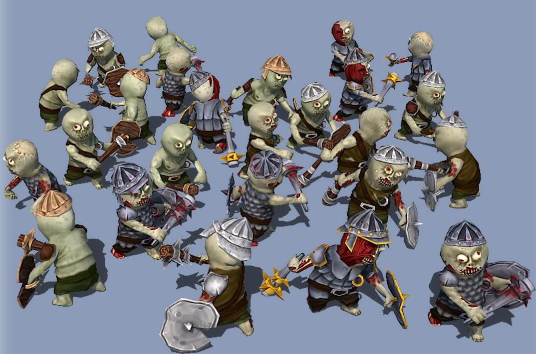 zombie set animations 25 3D model