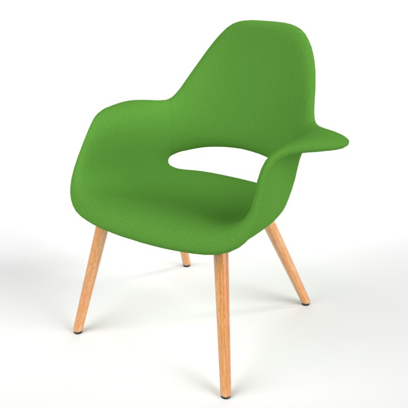 3D interior vitra organic chair model