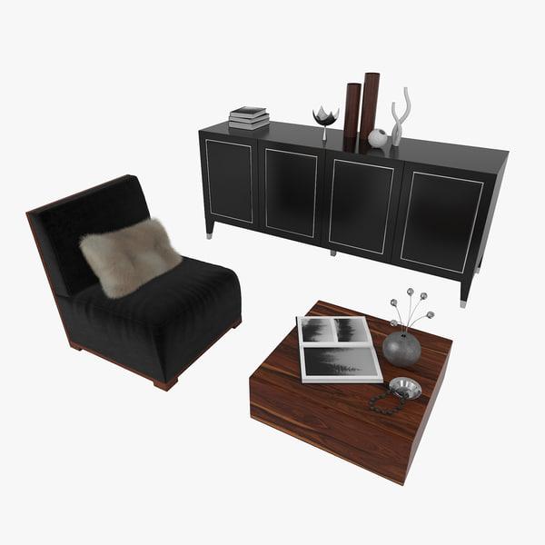 upholstered chair table 3D model
