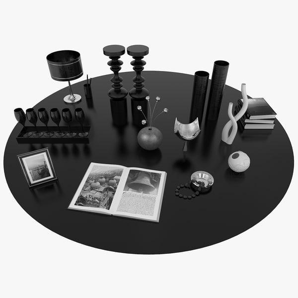 decorative set black 3D model