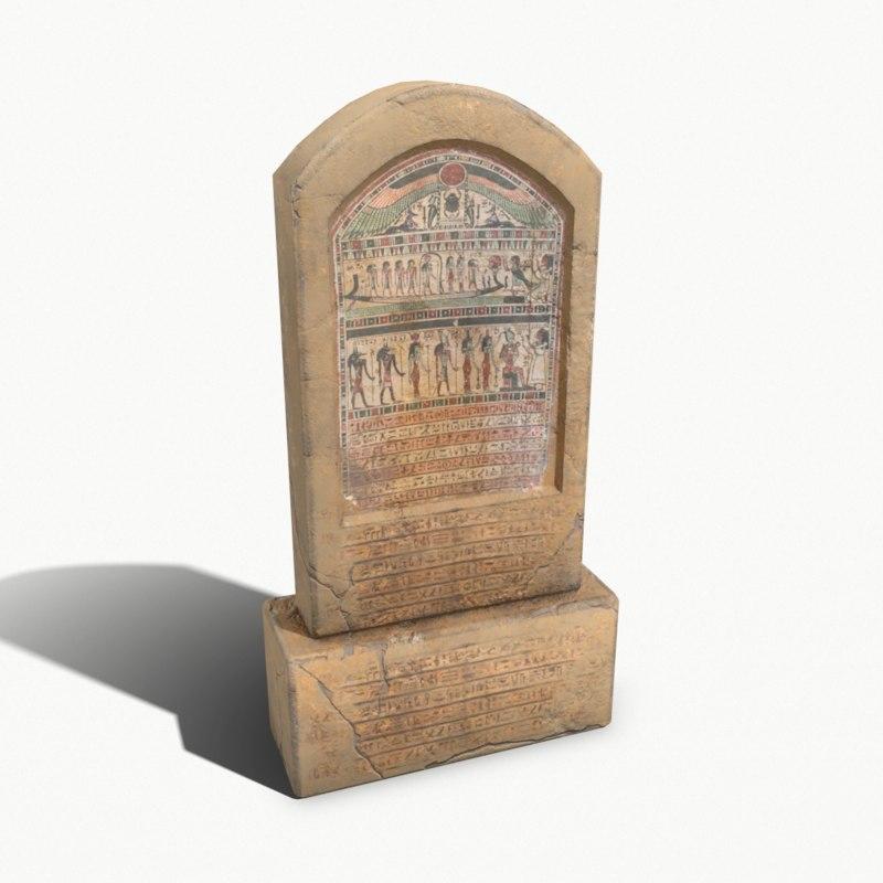 3D model egyptian stone plate