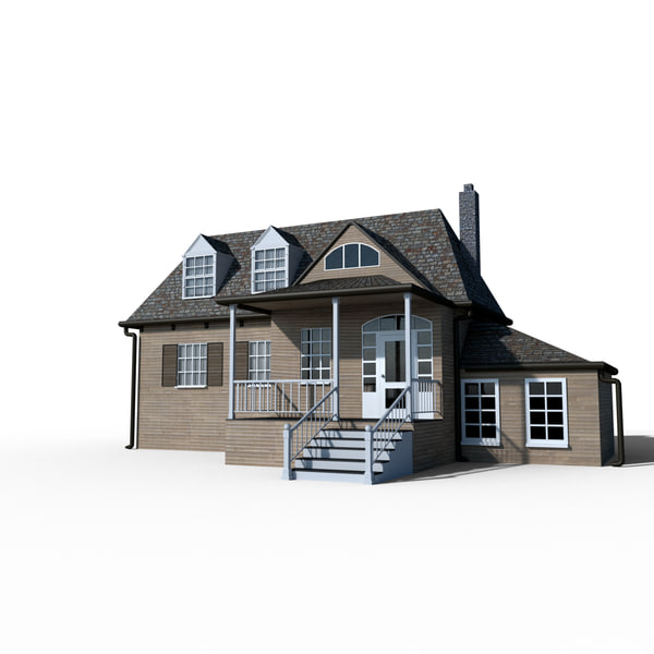 realistic colonial house 3D model
