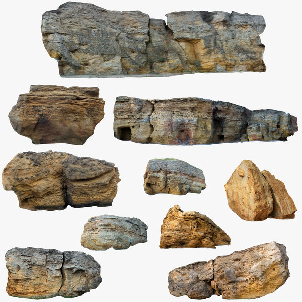 3D model limestone big size rock