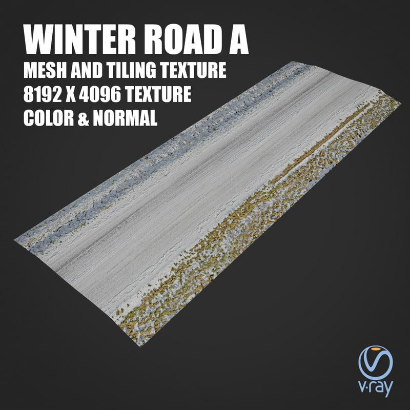 3D winter road tile