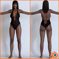 3D female character blender model