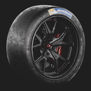 racing wheel michelin tyres 3D model