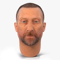 3d model male head hair 2