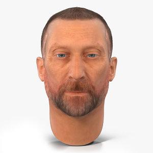 3d model male head hair 2