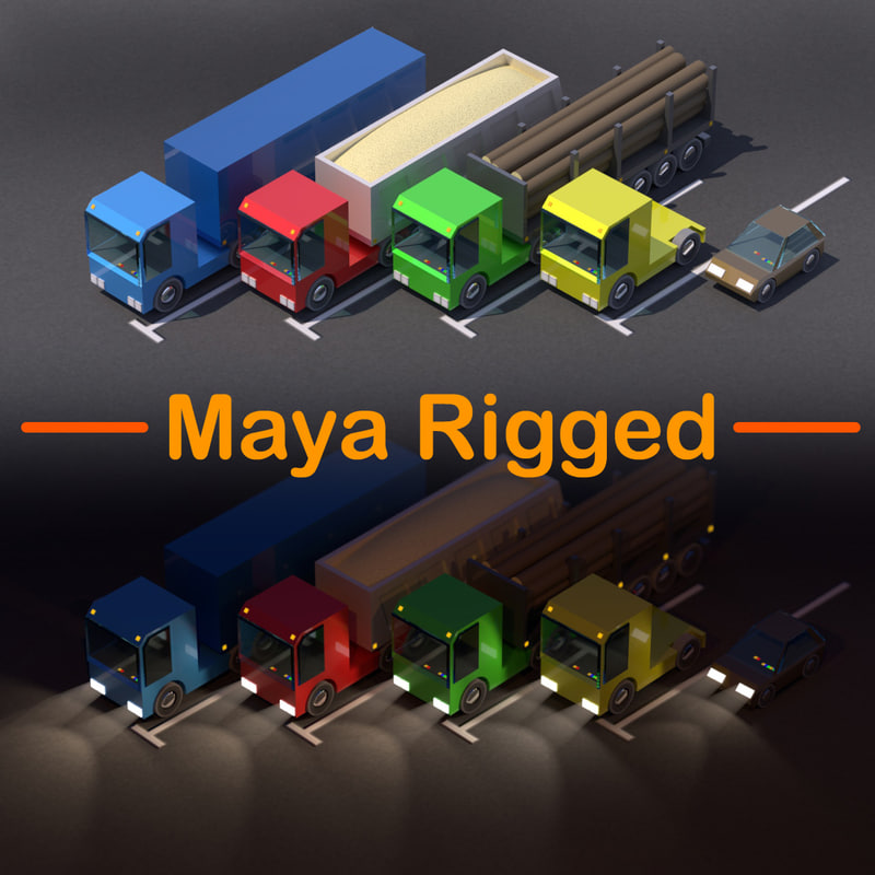 Truck Car Low Poly Pack Rigged