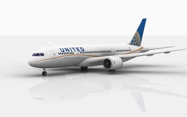 3D model boeing 787 dreamliner united