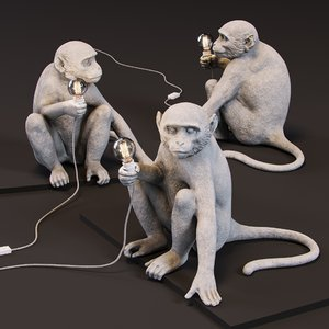 3D monkey lamp sitting version