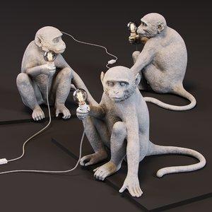 3D monkey lamp sitting version