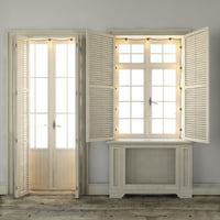 Scandinavian windows with shutters and lamps