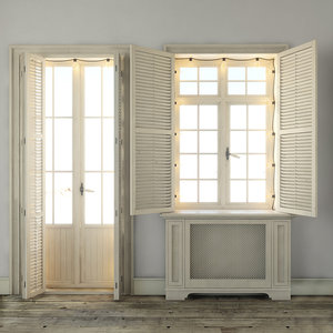 3D window shutters lamps model