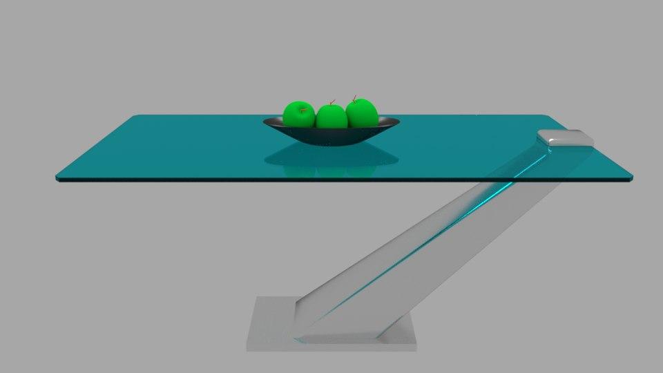 modern glass metal table design 3D model