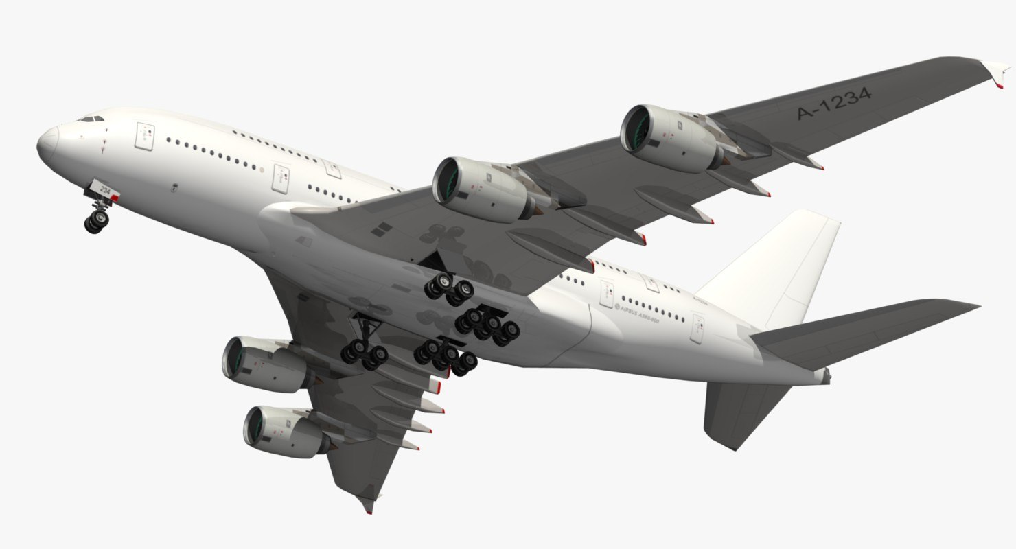 3D airbus a380 white livery