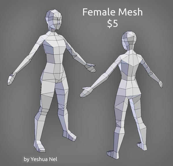 3D female sale uv model