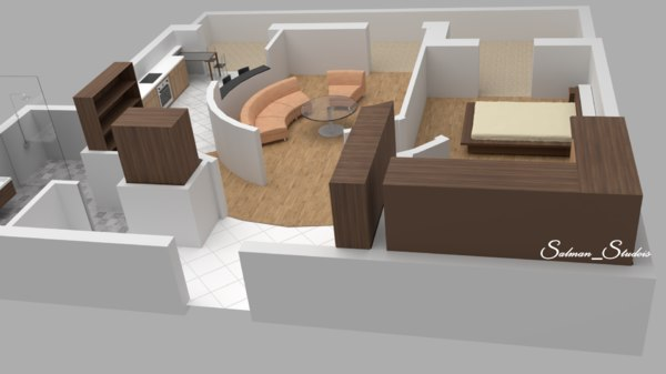 3D simple mini apartment floor