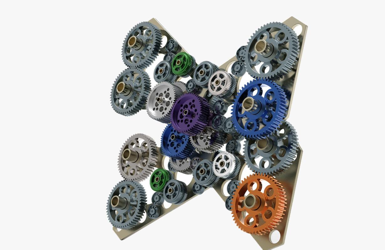 3D model gear mechanism v