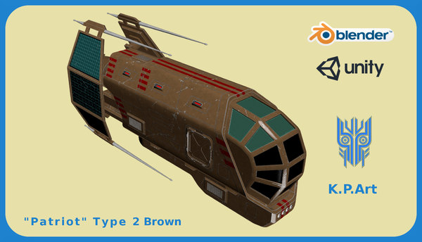 3D space ship patriot type