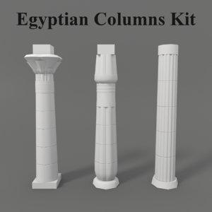 3D model ancient egyptian columns kit