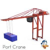 3D model port container crane