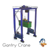 rubber tyred gantry crane 3D model