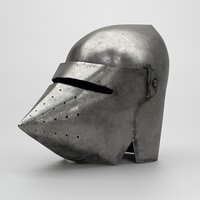 3D model medieval knight bascinet helmet visor