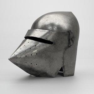 3D model medieval knight bascinet helmet visor