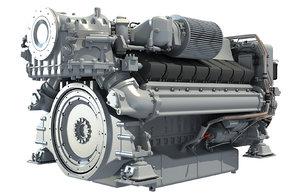 3D marine engine model