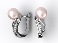pearl earrings 3D model