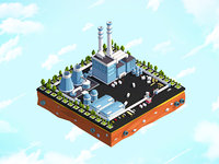 3D art cartoon city model