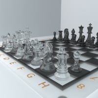 3D glass chess set