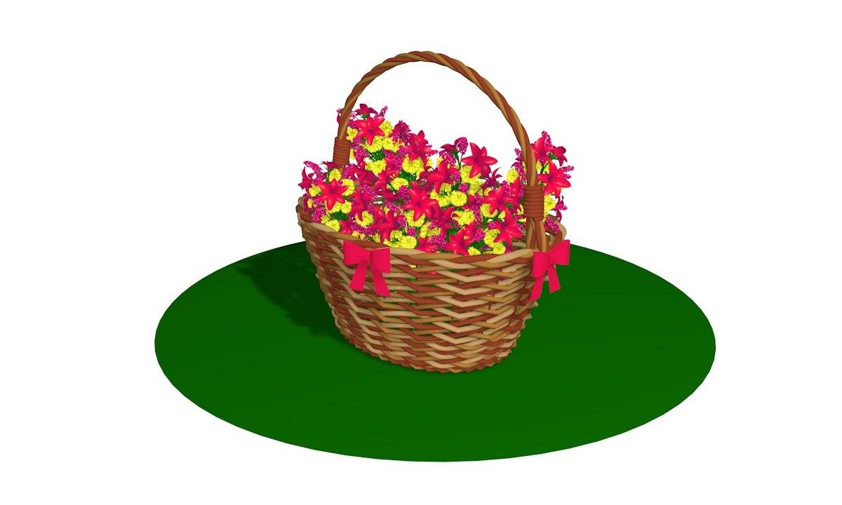 wicker basket flowers 3D model