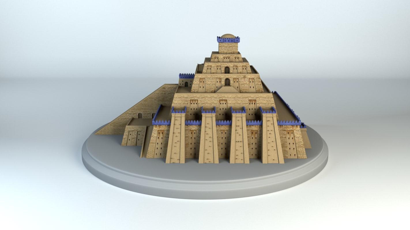 3d model mesopotamia ziggurat turbosquid 1251089