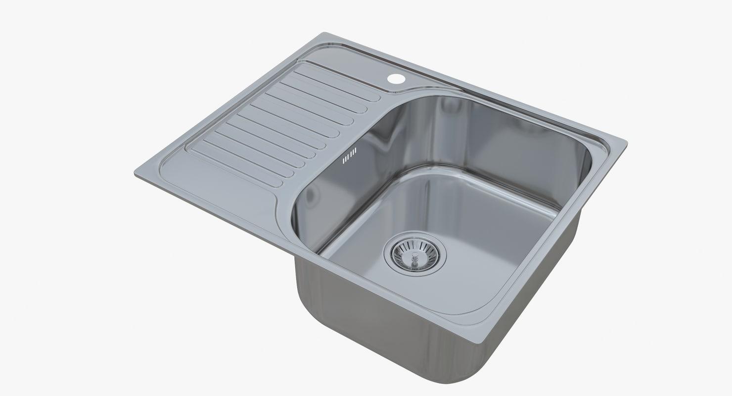 3D sink blanco tipo 45 model