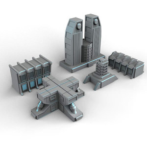 sci-fi building 3D model
