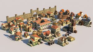 3D fantasy city modular elements model
