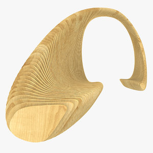 3d bench park parametric wood model